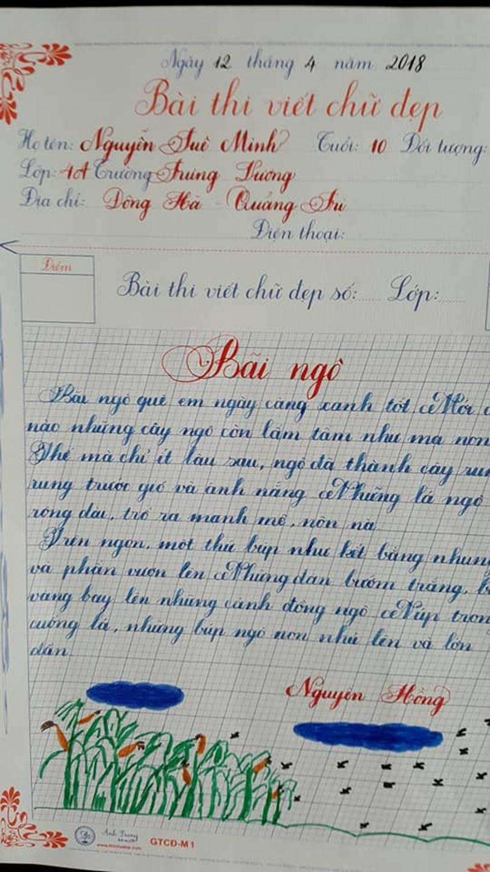 Thầy nào trò nấy, học sinh của 18 cô giáo viết đẹp gây sốt hôm qua cũng có nét chữ không máy in nào sánh bằng-14