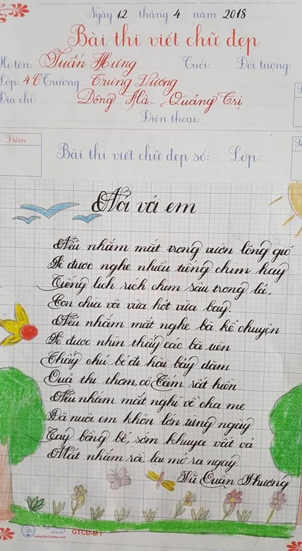 Thầy nào trò nấy, học sinh của 18 cô giáo viết đẹp gây sốt hôm qua cũng có nét chữ không máy in nào sánh bằng-4
