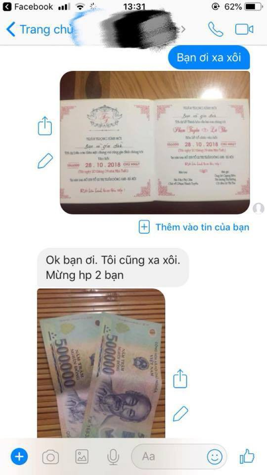 Nhận được thiệp mời cưới qua inbox, bạn cũ liền gửi tiền mừng bằng ảnh minh hoạ-2