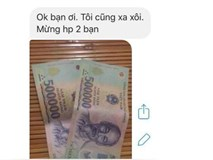 Nhận được thiệp mời cưới qua inbox, bạn cũ liền gửi tiền mừng bằng