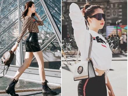 Sải bước trên đường phố Paris, Ngọc Trinh khoe street style chất lừ với hàng hiệu phủ người