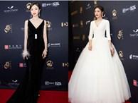 Vẫn với thói quen khâu váy cho bớt sexy, Tần Lam từ nữ thần hóa mỹ nhân chỉ trong 1 buổi tối