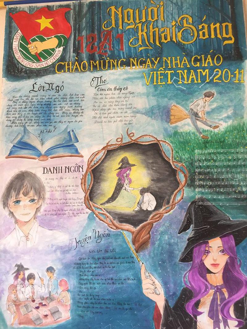 Những trang báo tường sáng tạo dịp 20/11: Đến cả Harry Potter và Diên Hi công lược cũng được đưa vào-1
