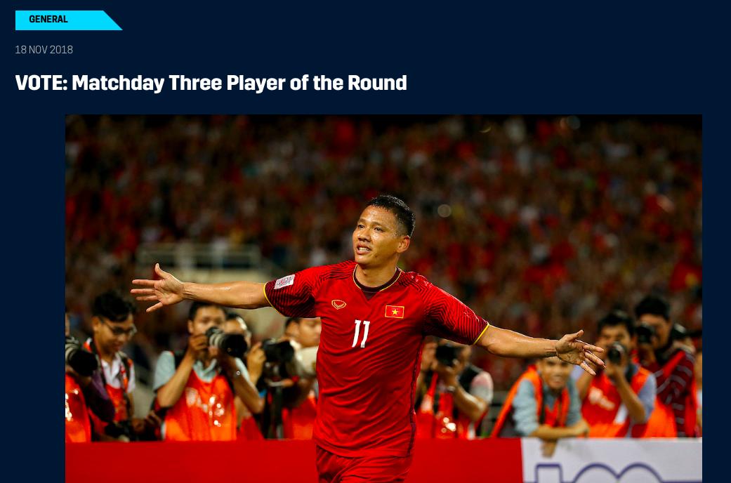 Một cầu thủ Việt Nam góp mặt và bứt phá như xe đua Công thức 1 trong cuộc bình chọn Cầu thủ hay nhất lượt 3 AFF Cup 2018-1