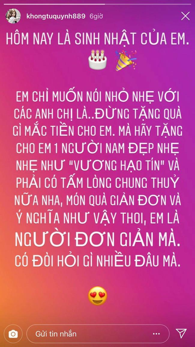 Chia sẻ của Khổng Tú Quỳnh trong ngày sinh nhật tiếp tục khiến dân tình tin tưởng đã chia tay Ngô Kiến Huy-1