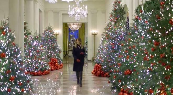 Trang trí Giáng sinh cho Nhà Trắng, bà Melania Trump gây tranh cãi khi sử dụng toàn cây thông màu đỏ-4