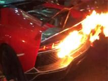 Siêu xe Lamborghini cháy ngùn ngụt khi nẹt pô