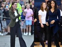 """Giữa tin đồn chị em dâu bất hòa, Công nương Kate lần đầu tiên diện kiểu quần này và nó chính là item """"ruột"""" của Meghan Markle"""