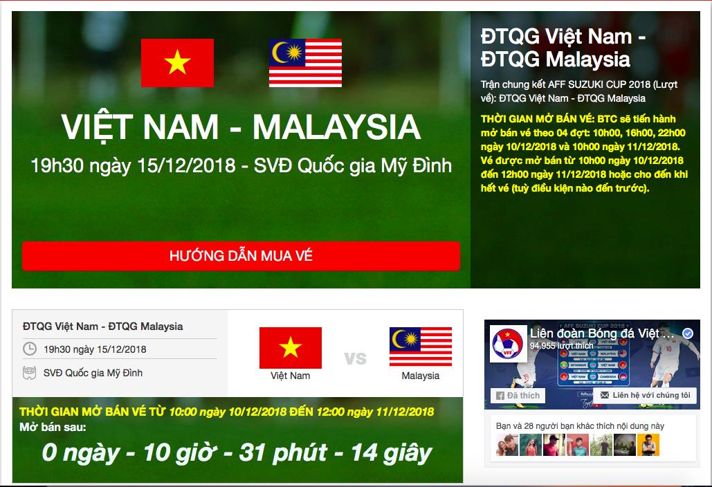 Hướng dẫn mua vé online trận chung kết AFF Cup lượt về giữa Việt Nam và Malaysia-1