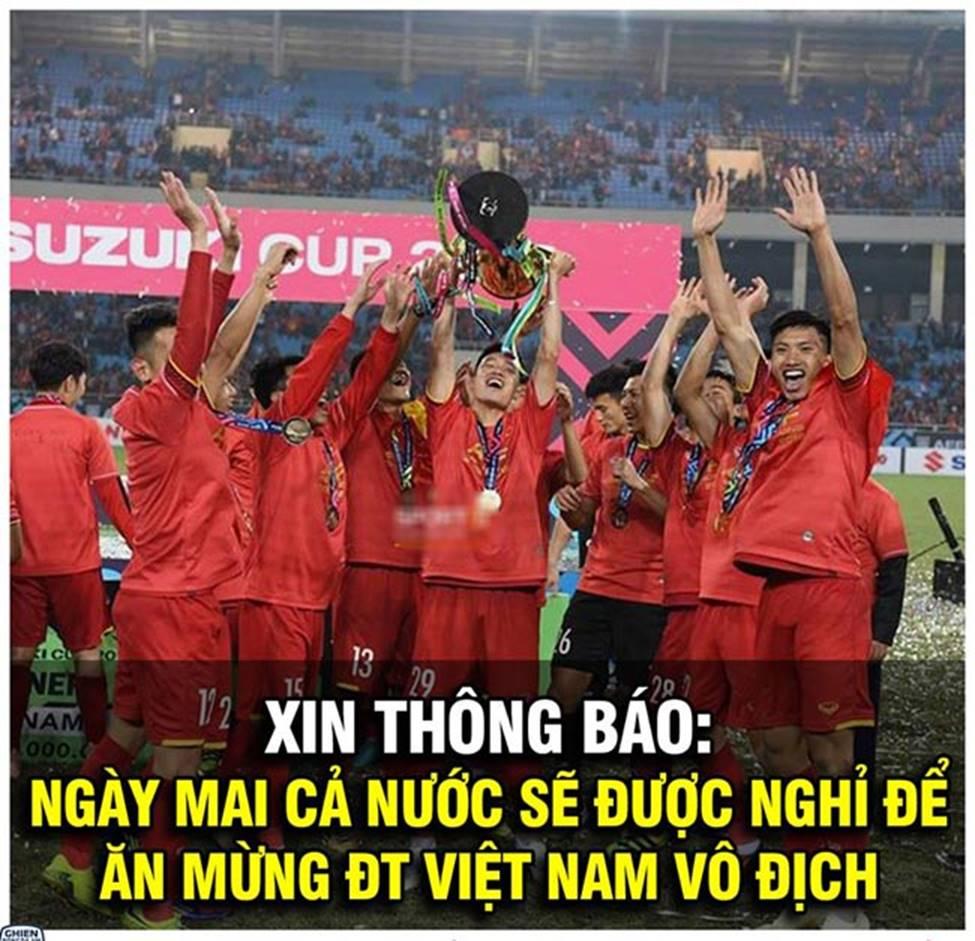Ảnh chế ăn mừng chức vô địch AFF Cup 2018 của đội tuyển Việt Nam-1