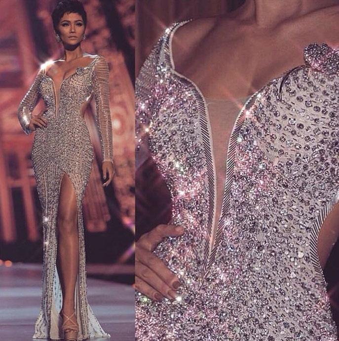 Cận cảnh chiếc váy 3000 viên đá quý như kim cương giúp HHen Niê làm nên kỳ tích-3