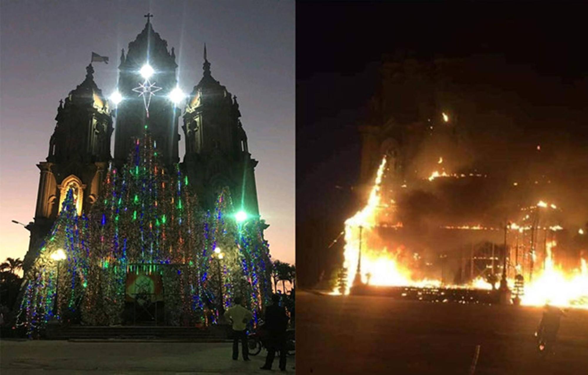 Mô hình hang đá nhà thờ cao 20 m cháy trước thềm Giáng sinh-1