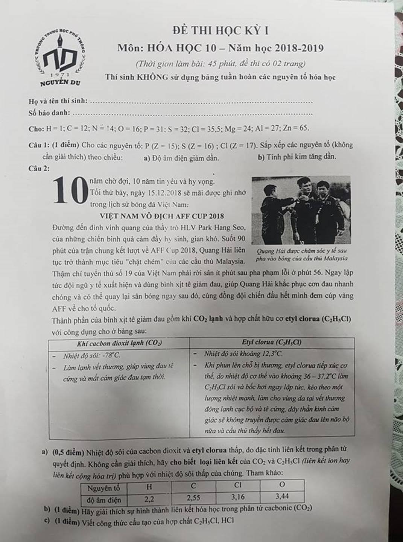 """Quang Hải bị chặt chém"""" ở chung kết AFF Cup vào đề thi môn Hóa học-1"""