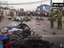 Hiện trường vụ ôtô đầu kéo tông hàng loạt xe máy ở Long An