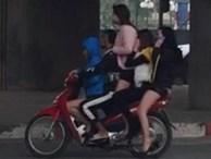 Xôn xao đoạn clip 4 cô gái xinh xắn đứng, ngồi trên chiếc xe Wave lao vun vút giữ phố Hà Nội
