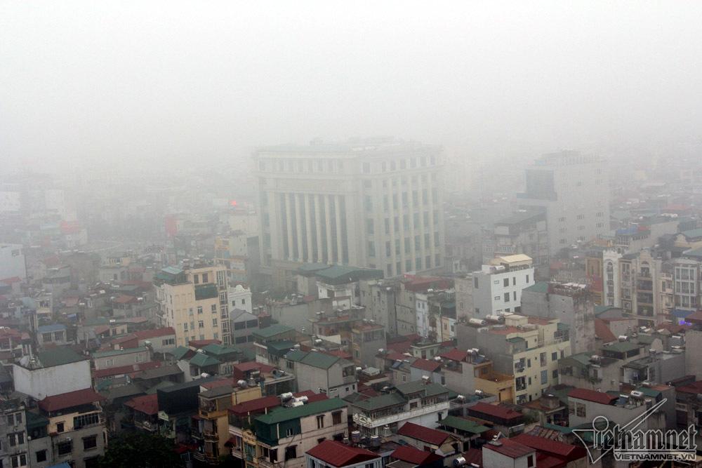 Hà Nội đặc quánh sương mù, cao ốc mất hút-2