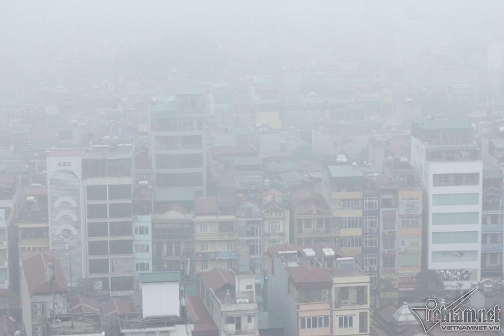 Hà Nội đặc quánh sương mù, cao ốc mất hút-3
