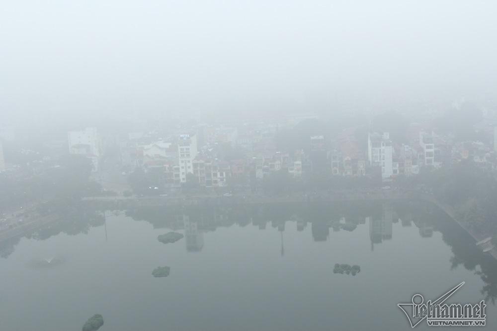 Hà Nội đặc quánh sương mù, cao ốc mất hút-13