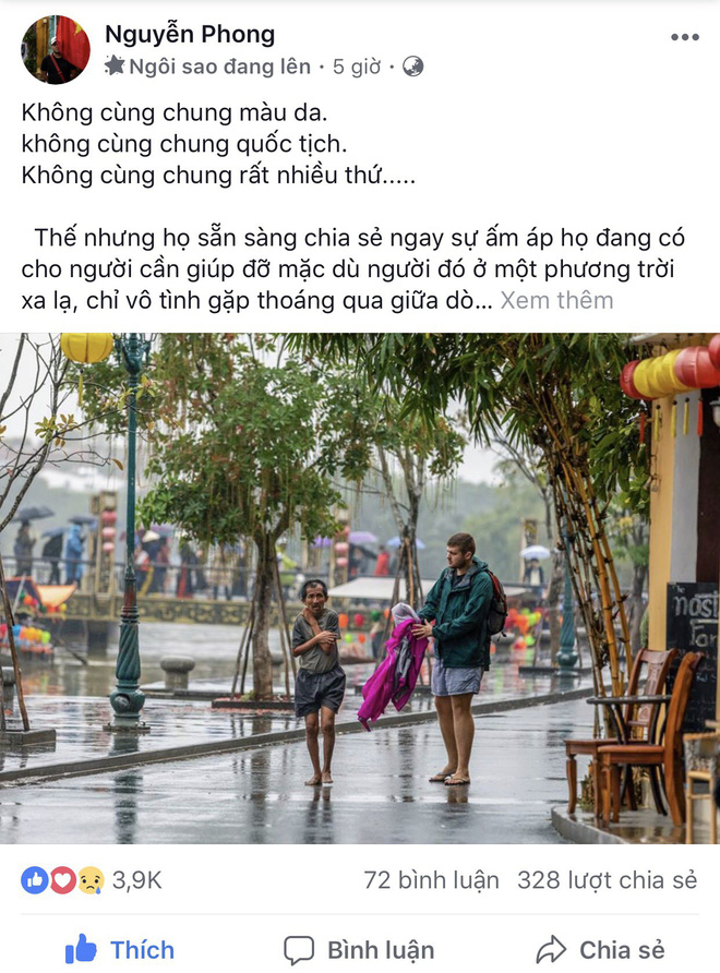 Thấy người đàn ông Việt co ro giữa mưa lạnh, chàng trai ngoại quốc đuổi theo và có hành động nghìn like-1