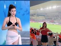 Nữ MC diện bikini bình luận bóng đá bất ngờ xuất hiện trên khán đài trận VN - Yemen