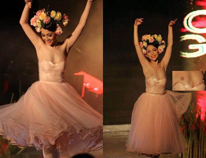Mặc váy gợi cảm khoe vòng 1 ngồn ngộn, Phương Mai và loạt sao này ê chề vì... tụt váy-6