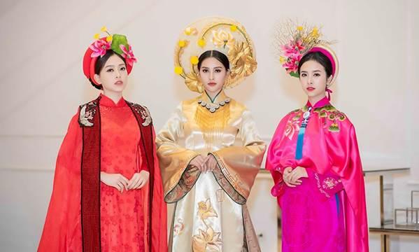 Hoa hậu Tiểu Vy mặc áo dài cung đình, đọ sắc Á hậu Phương Nga-Thuý An-5