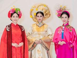 Hoa hậu Tiểu Vy mặc áo dài cung đình, đọ sắc Á hậu Phương Nga-Thuý An