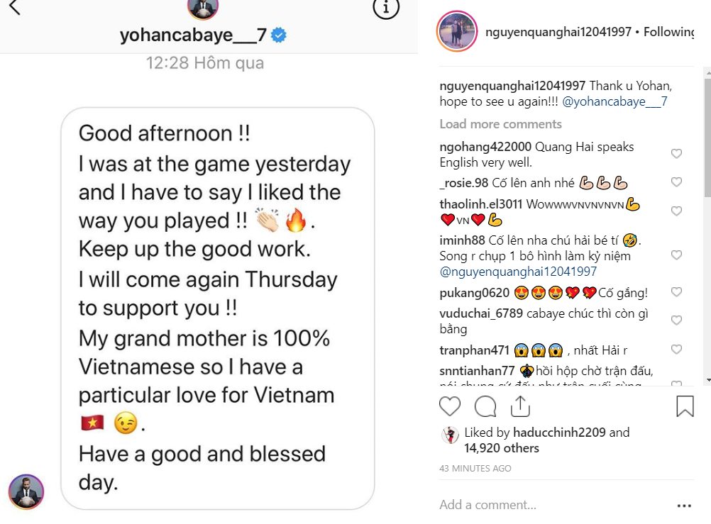 Quang Hải nhận tin nhắn chúc mừng đặc biệt từ ngôi sao bóng đá Pháp gốc Việt từng là Á quân Châu Âu-2