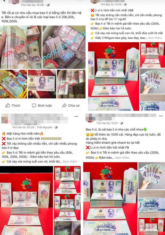 Bất chấp việc có thể bị phạt đến 80 triệu đồng, bao lì xì in hình tiền Việt Nam với nhiều mệnh giá vẫn được rao bán công khai trên mạng xã hội-2