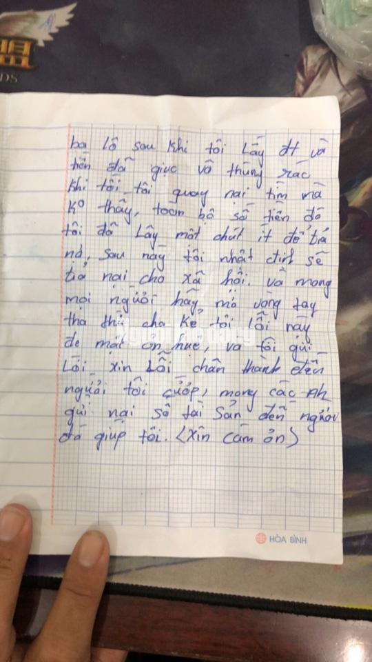 Tên cướp bí ẩn gửi trả 100 triệu đồng cùng thư xin lỗi-4
