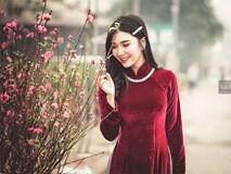 Thanh Bi tung ảnh áo dài xinh đẹp đón Tết