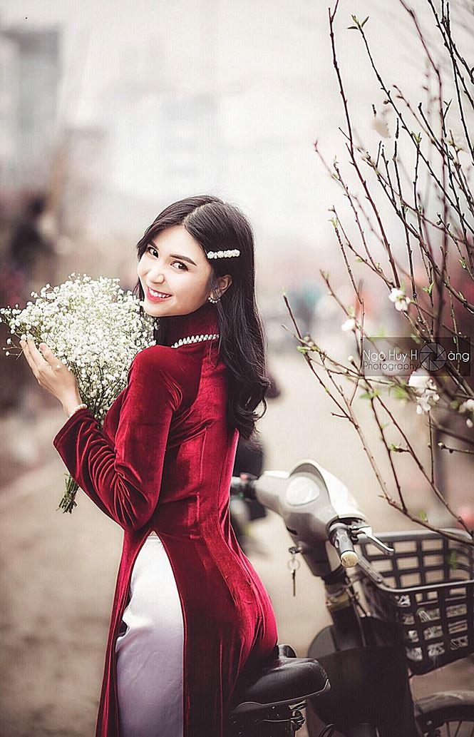 Thanh Bi tung ảnh áo dài xinh đẹp đón Tết-3