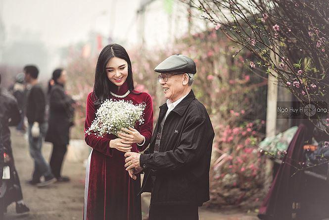 Thanh Bi tung ảnh áo dài xinh đẹp đón Tết-4