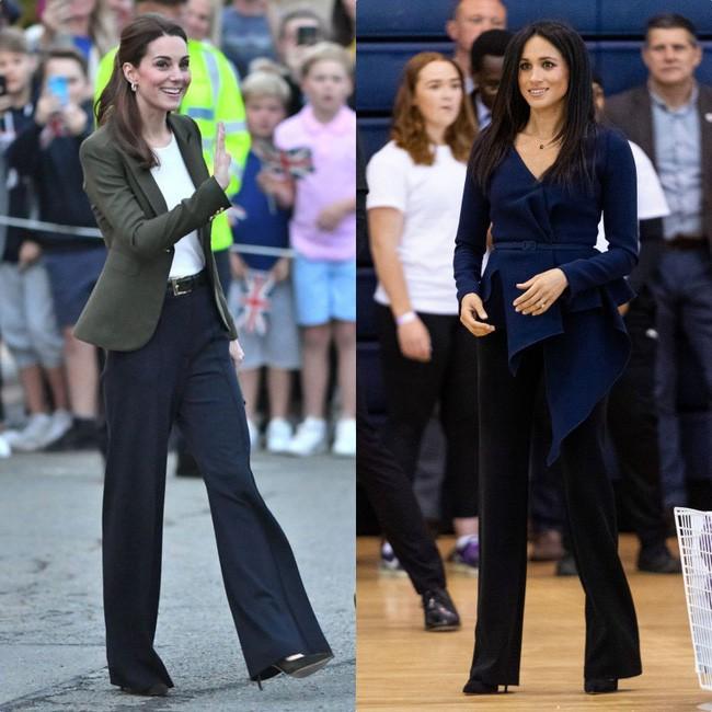 Có khi chị em dâu Kate và Meghan lại chẳng hề bất hòa, vì họ chăm diện giày đôi thế này cơ mà!-1