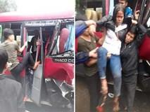 Xe khách đối đầu xe tải, người dân đạp cửa cứu các hành khách đang hoảng loạn ra ngoài