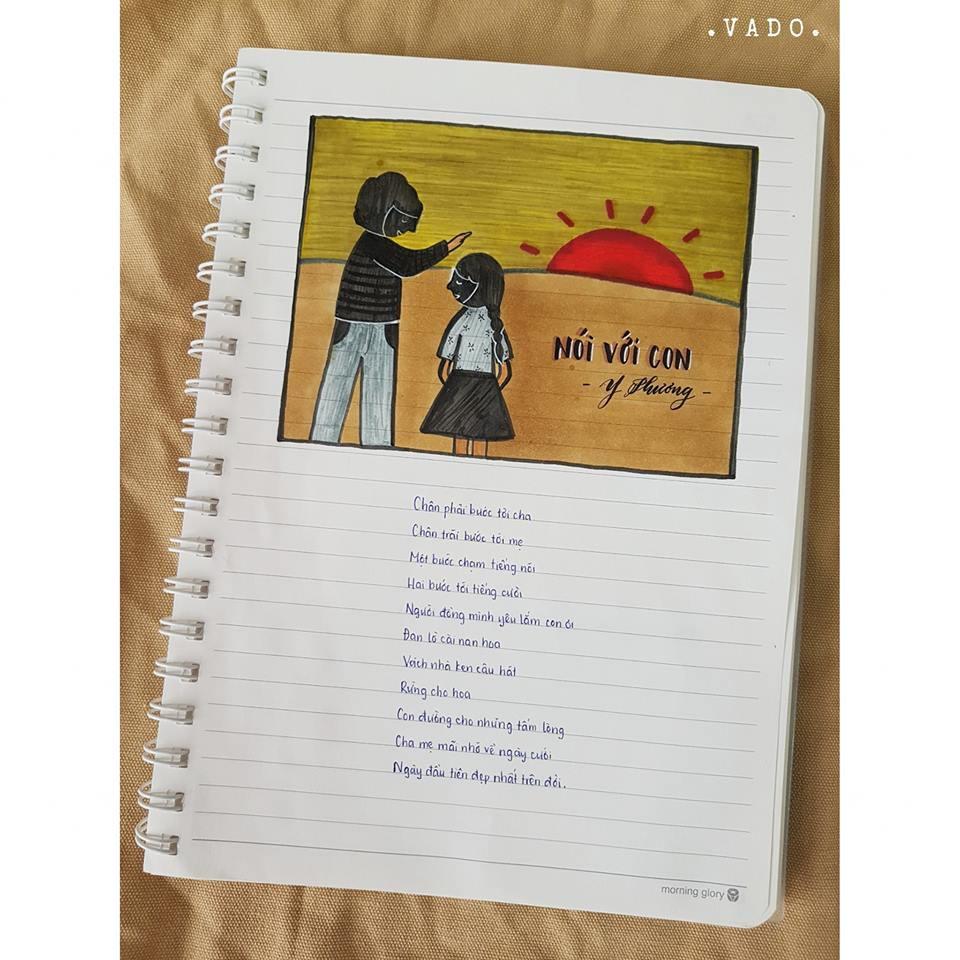 Nữ sinh lớp 9 khiến dân mạng phát cuồng khi biến vở Văn thành tác phẩm hội hoạ đẹp mê hồn-3