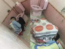 Chồng nhậu say bí tỉ, vợ cao tay trải sẵn mền gối trong toilet cho nằm để tiện đường nôn oẹ