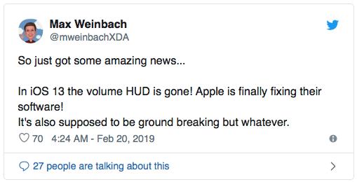 iOS 13 sắp ra mắt, khai tử tính năng đầy phiền toái Volume HUD-2