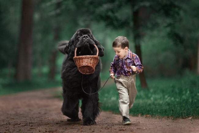 Bộ ảnh đẹp đến nao lòng của các bé chụp cùng thú cưng khổng lồ khiến ai nấy đều phải ngẩn ngơ, trầm trồ-10