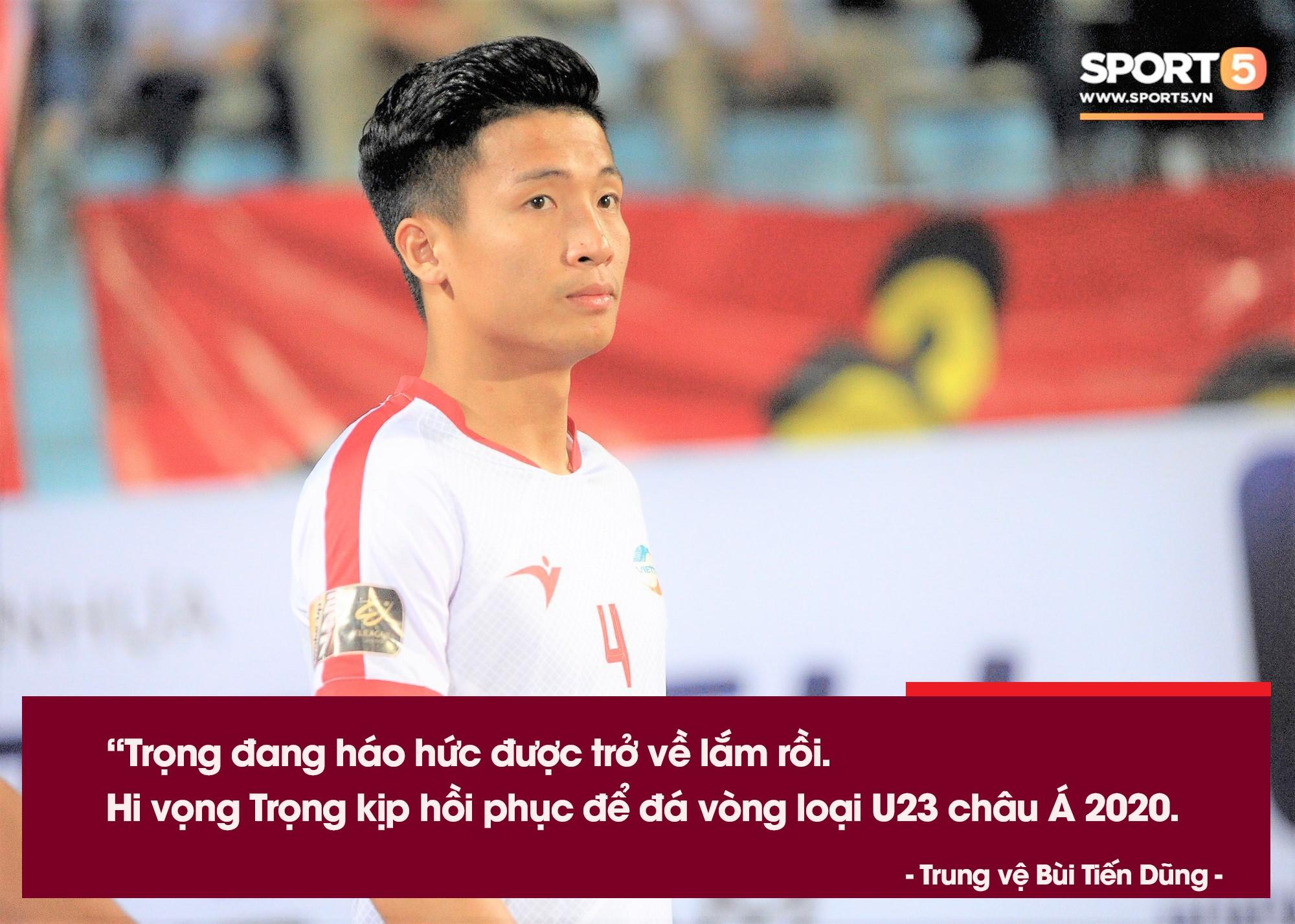 Bùi Tiến Dũng: Bộ ba trung vệ chỉ còn Đình Trọng, mong cậu ấy có thể đá vòng loại U23 châu Á-1