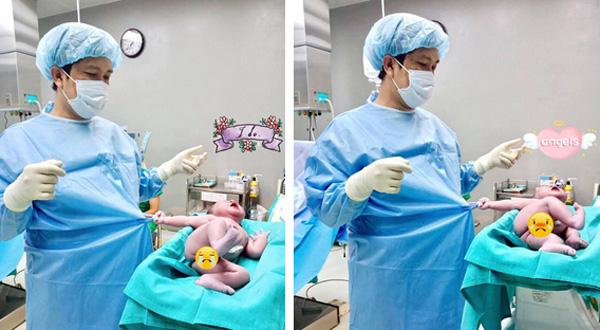 Dân mạng Trung Quốc cũng phải phát cuồng vì em bé sơ sinh Việt Nam nắm chặt áo bác sĩ, gào khóc ăn vạ-1
