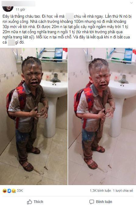 La cà sau tan học, bé trai lớp 1 úp mặt xuống ruộng, ảnh đời thường gây ngỡ ngàng-1