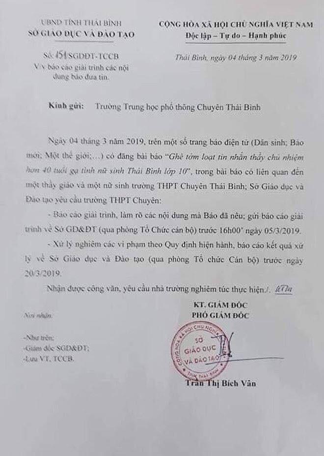 """Nghi án thầy giáo trường chuyên nhắn tin gạ tình"""" nữ sinh lớp 10, Sở GD&ĐT Thái Bình yêu cầu làm rõ vụ việc-6"""