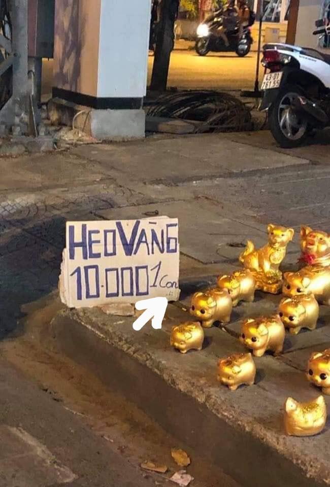 Những chú heo vàng treo biển giá rẻ bất ngờ chỉ 10k/con nhưng khách hàng lại gần hỏi mua mới ngã ngửa vì hớ-1