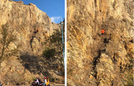 Clip: Nam thanh niên Vũng Tàu liều lĩnh leo núi đá cheo leo bằng tay không rồi bất ngờ rơi xuống khiến nhiều người thót tim-1