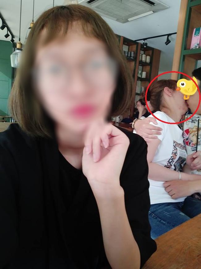 Ngồi chung băng ghế trong quán trà sữa, cô gái xui xẻo bị nụ hôn nồng nàn của cặp đôi kém duyên đốt mắt-1