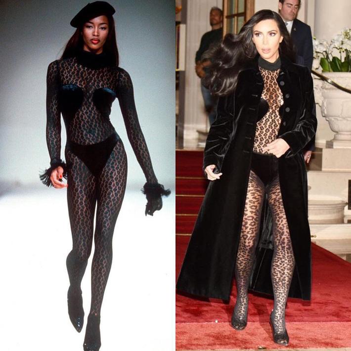 Kim Kardashian liên tiếp copy lại phong cách của Naomi Campbell nhưng lại đem đến ấn tượng hoàn toàn khác-2