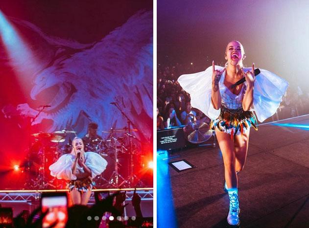 Ca sĩ Rita Ora diện thiết kế của Công Trí thổi tung sân khấu trong tour diễn Pheonix-3
