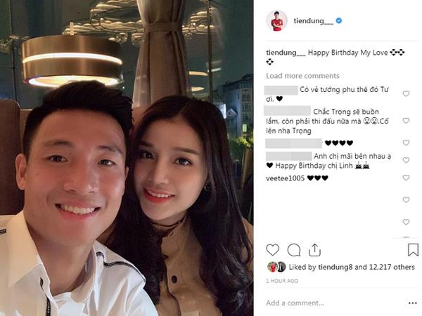 Bạn trai nhà người ta: Trung vệ Bùi Tiến Dũng canh đúng 0h để đăng ảnh ngọt ngào chúc mừng sinh nhật bạn gái-1