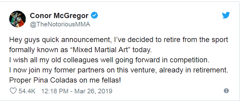 Nóng: Gã điên Conor McGregor bất ngờ tuyên bố giải nghệ-1